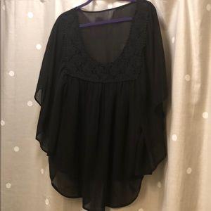 Sheer flowy black top